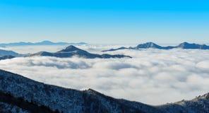 Deogyusan山和雾在冬天 库存照片