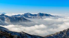 Deogyusan山和雾在冬天 库存图片