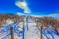 Deogyusan-Berge wird durch Schnee bedeckt Stockfotos