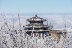 DEOGYUSAN, CORÉE - 23 JANVIER : Vue de station de vacances de Deogyusan en hiver Photographie stock libre de droits