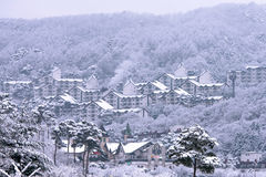 DEOGYUSAN, KOREA - 23. JANUAR: Ansicht von Deogyusan-Erholungsort im Winter Stockfotografie
