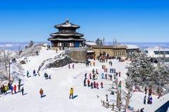DEOGYUSAN KOREA - JANUARI 23: Turister som tar foto Arkivbild