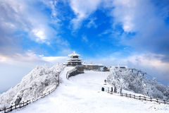Deogyusan mountains is covered by snow and morning fog in winter. Stock Photos