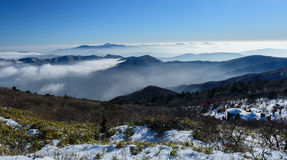 Deogyusan mountains and fog in winter. South Korea Royalty Free Stock Photography