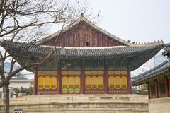 The Deoksugung Palace in Seoul, South Korea. The beautiful architecture of Junghwajeon main hall in Deoksugung Palace in Seoul, South Korea royalty free stock photos