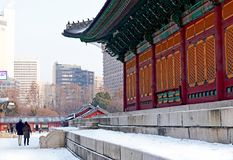 Deoksugung Palace in winter season. Hanok is traditional royalty free stock photos