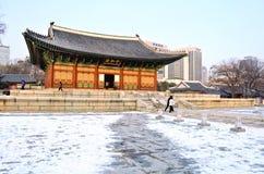 Deoksugung Palace in winter season. Hanok is traditional stock images