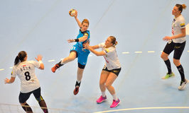 Deonise Cavaleiro, player of CSM Bucharest attacks during the match with MKS Selgros Lublin Stock Photos