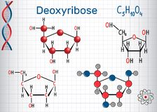 Deoxyribose molecule, it is a monosaccharide deoxy sugar,  Stock Photography