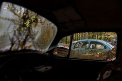 Depósito de chatarra automotriz antiguo en otoño - tipo 1/escarabajo abandonados del vintage de Volkswagen - Pennsylvania foto de archivo libre de regalías