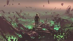 Depósito de chatarra del espacio en el planeta extranjero libre illustration