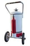 Depósito de gasolina blanco con el aislante de la rueda en el fondo blanco Fotos de archivo libres de regalías