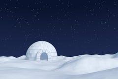 Depósito de hielo del iglú en campo de nieve polar debajo del cielo nocturno con la estrella ilustración del vector