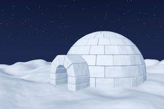 Depósito de hielo del iglú en campo de nieve polar debajo del cielo nocturno con las estrellas libre illustration