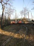 Depósito de la tranvía en Dorcol, Belgrado fotos de archivo