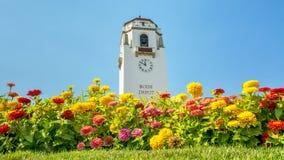 Depósito de tren de Boise y flores coloridas Imágenes de archivo libres de regalías