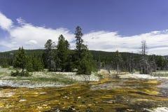 Depósitos geotérmicos del azufre Imagen de archivo libre de regalías