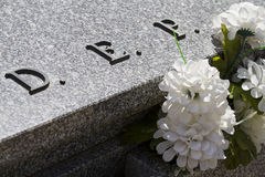 DEP cemetery detail with white flowers Royalty Free Stock Image