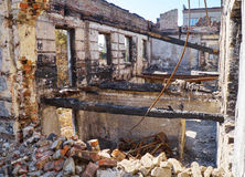 Departamento da polícia arruinado de Mariupol Fotos de Stock Royalty Free