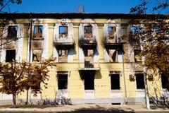 Departamento da polícia arruinado de Mariupol Foto de Stock Royalty Free