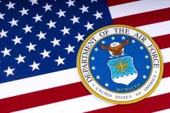 Departamento de la fuerza aérea y de la bandera de los E.E.U.U. Fotos de archivo