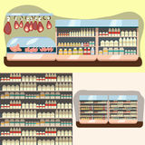 Departamento de la lechería, estante de la leche con la comida sana fresca en supermercado libre illustration
