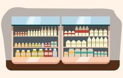 Departamento de la lechería, estante de la leche con la comida sana fresca en supermercado stock de ilustración