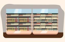 Departamento de la lechería, estante de la leche con la comida sana fresca en supermercado, stock de ilustración