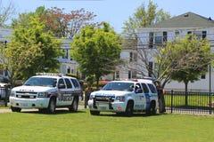 Departamento de Policías de Seguridad de patria y de Departamento de Policía del puerto franco que proporcionan seguridad durante Foto de archivo libre de regalías