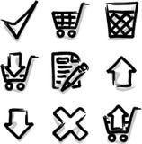 Departamento del contorno de la etiqueta de plástico de los iconos del Web del vector Foto de archivo