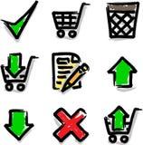 Departamento del contorno del color de la etiqueta de plástico de los iconos del Web Foto de archivo libre de regalías