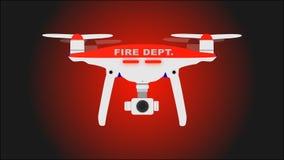 Departamento do fogo Ícone do zangão da foto e do vídeo Ilustração do vetor ilustração stock