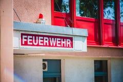 Departamento dos bombeiros alemão Fotografia de Stock Royalty Free