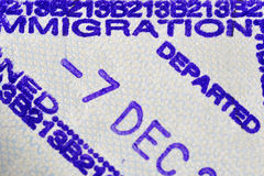 Departed. Immigration departed stamp, made on a airport when someone leaves the visiting country Royalty Free Stock Photos