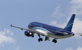 Departing Azerbaijan Airlines Airbus A320-200 aircraft Royalty Free Stock Image