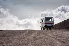 Departing bus from Torre del Filosofo on Mount Etna Royalty Free Stock Photography