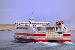 Departing fast ferry, Scotland Stock Photo