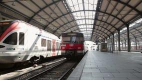 Departing German S-Bahn. Wiesbaden, Germany - March 13, 2014: A German S-Bahn train is leaving main station Wiesbaden stock video