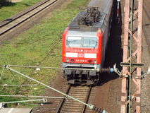 Departing regional train. Regional train on the railway in the direction of Dusseldorf, 2014 Royalty Free Stock Images