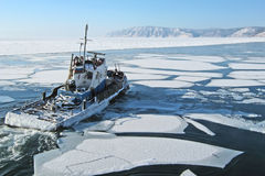 Ship on lake Baikal Stock Image