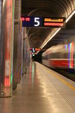 Departing Train. A train departing an underground train station Royalty Free Stock Photo