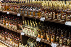 Department of alcohols in Duty Free Shop Royalty Free Stock Photos