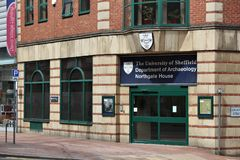 Department of Archaeology. SHEFFIELD, UK - JULY 10, 2016: Department of Archaeology of University of Sheffield, UK. It is a public research university with over Royalty Free Stock Image