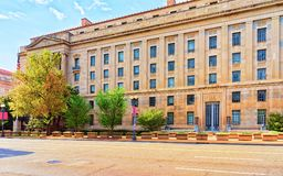 Department of Commerce in Washington DC. Department of Commerce in Washington D.C. It is located in Herbert C. Hoover Building. It was built in 1932 stock photography