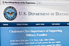 Department of defense. Macro image of us department of defense homepage loaded in internet browser royalty free stock photo