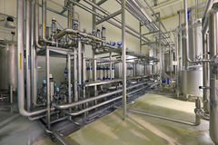 Department filtering. Brewing production - department filtering, the interior of the brewery, nobody Stock Images