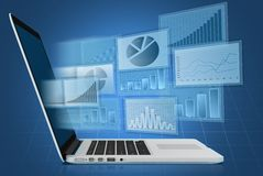 Department financial charts on screen of the. Laptop Royalty Free Stock Photography
