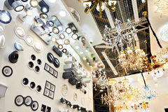 Department of fixtures and chandeliers in store. Department of fixtures and chandeliers in the store Stock Photography