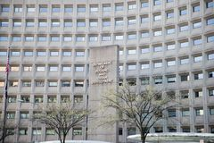 Department of Housing and Urban Development in downtown with closeup of sign and building windows Stock Photos