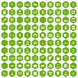 100 department icons hexagon green. 100 department icons set in green hexagon isolated vector illustration Stock Photography
